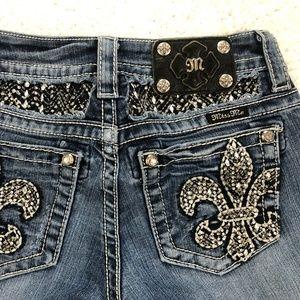 MISS ME Jeans Bling Sequins Fleur De Lis Sz 25x30